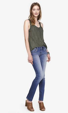 Medium Wash Low Rise Thick Stitch Skinny Jean | Express