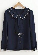 Navy Blue Peter Pan Collar Puff Sleeve Chiffon Blouse