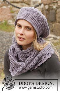 """Set consists of: Crochet DROPS beret and neck warmer in """"Karisma"""". Size: S - XXXL. ~ DROPS Design"""
