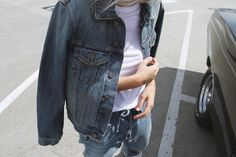 Vince denim jacket, tee and jeans. Via Mija