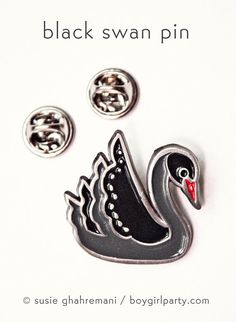 Enamel Pin  Black Swan Pin Black Swan Jewelry by boygirlparty