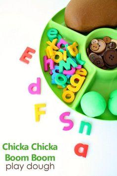 Chicka Chicka Boom Boom Play Dough Invitation and alphabet activities