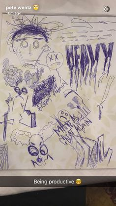 Pete wentz doodles-that's very nice Pete, not creepy and violent at all!