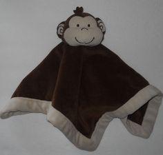 "Tiddliwinks Brown Tan Monkey Baby Lovey Security Blanket Velour Boy Girl 13"" #Tiddliwinks"