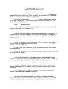 free last will and testament template Printable Sample Last Will And Testament Template Form | Real Estate ...