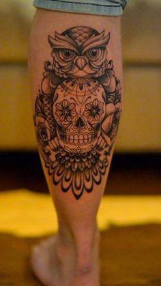 Calf Tattoo Designs Won't Miss Skull-and-Owl-Tattoo