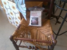 Found this today at a consignment shop. If you can't see...you take old ties and weave a seat to replace worn out seats. Clever!