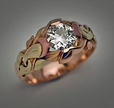 A Highly Unusual Art Nouveau Antique Russian Solitaire Diamond Men's Gold Ring made in Odessa between 1899 and 1908 The ring is crafte...
