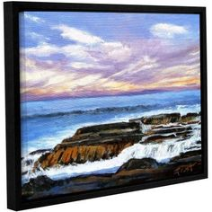 ArtWall Gene Foust Rolling Water Gallery-Wrapped Floater-Framed Canvas, Size: 18 x 24, Blue