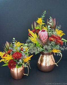 Fall floral arrangements in a copper pitcher and Nice reuse of the broken stemmed blooms. Tropical Floral Arrangements, Flower Arrangements, Fall Flowers, Pretty Flowers, Diy Projects Arts And Crafts, Solid Copper Mugs, Copper Rose, Rose Gold, Bridal Luncheon