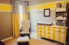 Kids rooms and nurseries are an opportunity to have some fun with color and design. Striped walls are an easy DIY that require a little creativity and a little more patience. We love this gray and yellow nursery and the mix of vertical and horizontal stripes.