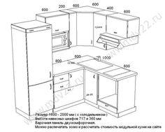 10. Эскиз кухни для хрущевки со встроенной варочной панелью и духовым шкафом. Размер 1600 мм- 2000 м