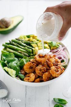 Blackened Shrimp, Asparagus and Avocado Salad with Lemon Pepper Yogurt Dressing recipe | http://cafedelites.com