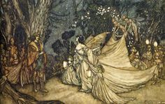 A Midsummer Night's Dream (Illustrated by Arthur Rackham) Arthur Rackham, Shakespeare Midsummer Night's Dream, Heath Robinson, Landscape Illustration, Dream Illustration, Magazine Illustration, Midsummer Nights Dream, Book And Magazine, Summer Solstice