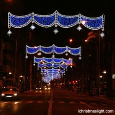 Christmas street blue LED light decoration