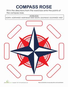 Second Grade Geography Worksheets: Compass Rose