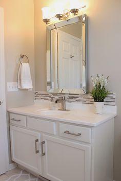 It's A Grandville Life : Guest Bathroom Reveal Modern White Bathroom, Beige Bathroom, Guest Bathrooms, Upstairs Bathrooms, Small Bathroom, Bathroom Ideas, Bathroom Updates, Bathroom Inspo, Bathroom Colors