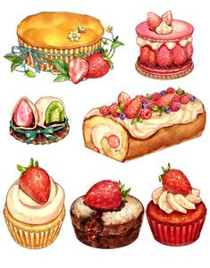 Cake drawing desserts 55 Ideas for 2019 Cupcake Illustration, Cake Drawing, Food Drawing, Food Sketch, Watercolor Food, Food Painting, Food Illustrations, Cute Food, Food Art