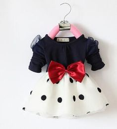 Anlencool 2017 Hot Sales Baby Girls Dress Cute Bow Long Sleeve Spring Sport Princess Style Party Clothing Baby dress Years - Kid Shop Global - Kids & Baby Shop Online - baby & kids clothing, toys for baby & kid Baby Outfits, Outfits Niños, Baby Girl Dresses, Baby Dress, Kids Outfits, Dot Dress, Fashion Kids, Cute Baby Girl, Baby Girls