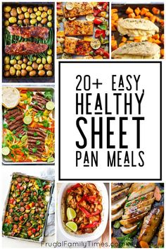 Quick, easy and healthy sheet pan dinners - that taste great! A roundup of 20 family friendly and simple recipes. Chicken, Fish, Pork chops and more. Baked and delicious. Easy Family Meals, Family Recipes, Easy Meals, Simple Recipes, Weight Watchers Meals, Kid Friendly Meals, Pork Chops, Sheet Pan, Food To Make