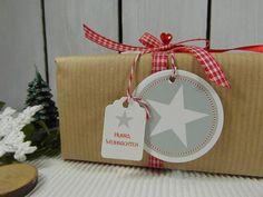 Geschenkanhänger - Geschenkanhänger Weihnachten Stern Rot Weiß Grau - ein Designerstück von DesignArbyte Grafik Design, Christmas Presents, Gift Tags, Illustration, Gift Wrapping, Gifts, Star, Beautiful Things, Craft Items