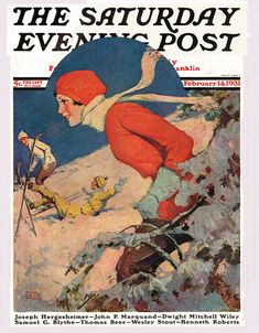 James C. McKell cover for the Saturday Evening Post, Feb 14, 1931. #vintage #1930s #skiing #winter #sports