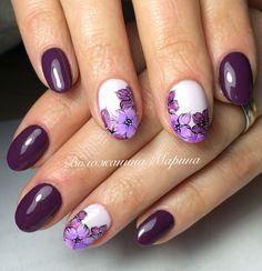 nails nails, violet nails и floral nail art Soft Nails, Fancy Nails, Cute Nails, Pretty Nails, Gel Nails, Winter Nail Designs, Nail Art Designs, Arylic Nails, Violet Nails