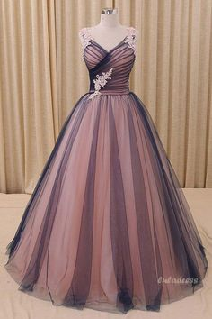 Simple Tulle V-neck Long Prom Dress, Tulle Evening Dress,BD98027 #promdresses #eveningdresses #2018prom