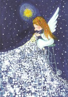 An angel crocheting a blanket of star by Virpi Pekkala