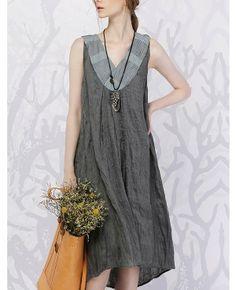 Patchwork V Collar Sleeveless Linen Dress