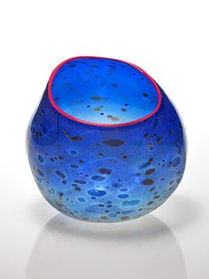 "41. Dale Chihuly Cobalt Blue Indian Basket  with Red Lip Wrap, 1994 9.5 x 9.5 x 9.5"" AVAILABLE"