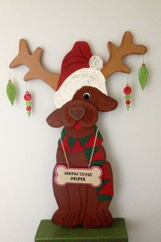 "PRIMITIVE WOOD CHRISTMAS CRAFT PATTERN LITTLE YELPER- 34"" TALL"