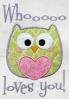 Owl Love Valentine Machine Embroidery APPLIQUE by CutestuffDesigns, $2.99