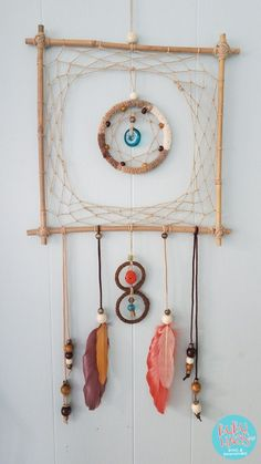 Dreamcatcher Unique square Dream catcher bamboo Boho Wal Art Handmade Wall hanging rustic decor natural colors – life is Life Dream Catcher Patterns, Dream Catcher Art, Beautiful Dream Catchers, Diy Dream Catcher Tutorial, Wiccan Decor, Wal Art, Diy And Crafts, Arts And Crafts, Handmade Wall Hanging