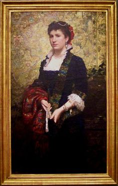 """Henryk Siemiradzki """"Portrait of Princess Maria Lubomirska"""", oil on canvas, Dimensions: Height: cm ″); Width: cm ″), Current location: Detroit Institute of Arts. Turbans, Potrait Painting, Detroit Art, 1870s Fashion, Academic Art, Victorian Art, Old And New Testament, Beautiful Paintings, Old Master"""