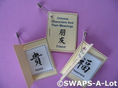 Mini Chinese Character/Meaning Booklet SWAPS Kit for Girl Kids Scout makes 25