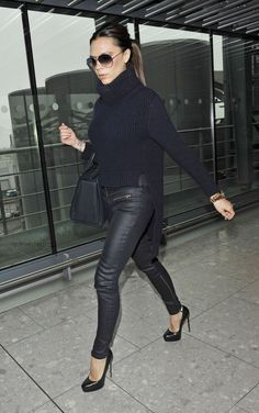 "Victoria Beckham looking ""posh"" in her sky-high Maniac heels."