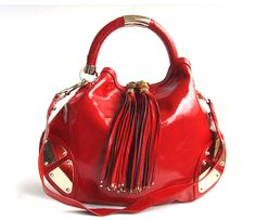 Patent red leather bag