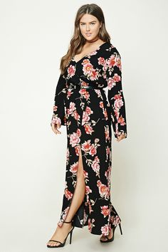 Forever 21+ - A woven maxi dress featuring an allover floral print, a surplice neckline with a snap button, an elasticized waist, a V-shape back with a lace-up detail, long bell sleeves, and an asymmetrical front slit.