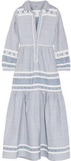 Dodo Bar Or - Embellished Cotton-jacquard Maxi Dress - Blue