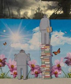 "Street art. ""It seems that the first man is in bliss with his ignorance while the well read man is elevated to the truth of the real world he lives in."" - Pinterest user Darla Denham"