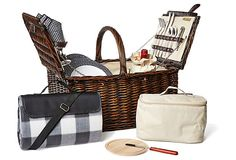 find picnic settings for four with melamine plates, cotton napkins, glass wineglasses, stainless-steel flatware, plus a corkscrew, cheese board and cheese knife. A food cooler, insulated wine carrier with shoulder strap, and blanket with water-resistant backing complete the set.OneKingsLane.com