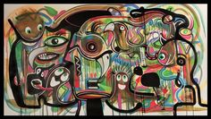 "60"" HUGE ABSTRACT Modern ART PAINTING ""Peak Hour"" by RAEART"