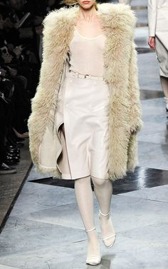 Loewe Cream Cotton And Cashmere Top and Shearling Coat