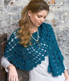 Graceful Shell Shawl - Here's a shawl that will keep your shoulders warm while wearing everything from casual jeans to dinner or theater attire. No one will know how easy it was to crochet!