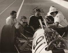 Jim Clark, Colin Chapman, Dan Gurney, and a Lotus-Ford grand prix car