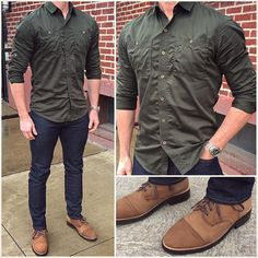 I like to go with a more understated green for St Patrick's Day 🍀, like with this olive shirt. Do you like this outfit❓ Now I'm off to the pub❗️Cheers‼️ 🍻🍻🍻🍻 Boots: Denim: Olive Shirt, Casual Outfits, Men Casual, Smart Casual, Casual Menswear, Casual Attire, Dress Casual, Look Man, Mein Style