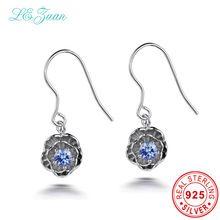 I&zuan Vintage 925 Sterling Silver Earrings 0.2ct Natural Tanzanite Romantic Lotus Flower Drop Earrings Fine Jewelry For Women //FREE Shipping Worldwide //