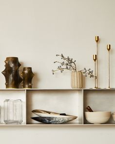 Shelf New Arrivals: Everclassic pottery featuring this Knud Basse set of tall and small vases. The Line Apartment, Wall Accessories, Neutral Palette, Stores, Floating Shelves, Minimalism, Home Goods, Pottery, The Incredibles
