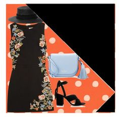 """""""Black with Floral Trim Dress"""" by onesweetthing on Polyvore featuring RIFLE, Kate Spade, Alice + Olivia, Gianvito Rossi and rag & bone"""